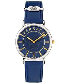 Women's Swiss Silver-Tone Leather Strap Watch 36mm