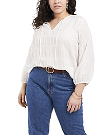 Plus Size 3/4 Sleeve Smocked Texture Blouse