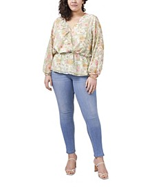 Plus Size Long Sleeve Ruffled Vernona Garden Wrap Blouse