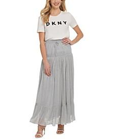 Metallic Silver Drawstring Maxi Skirt