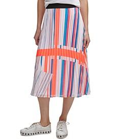 Printed Pleated Pull-On Midi Skirt