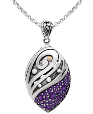 """Amethyst Bali Filigree Pendant Necklace with 16/18"""" Rolo Chain in Sterling Silver and 18K Gold"""