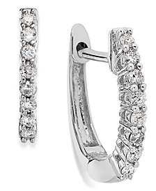 10k White Gold Diamond Mini Hoop Earrings (1/8 ct. t.w.)