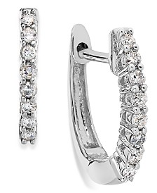 Diamond Mini Hoop Earrings (1/8 ct. t.w.) in 10k White, Rose or Yellow Gold