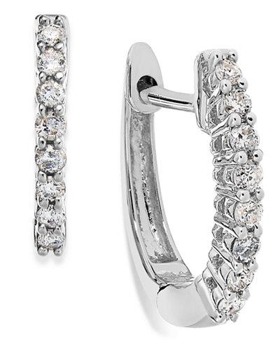 10k White Gold Diamond Mini Hoop Earrings (1/8 ct. t.w.)