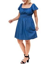 Trendy Plus Size Cotton Denim Smocked-Waist Dress