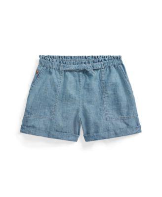폴로 랄프로렌 Polo Ralph Lauren Big Girls Chambray Camp Shorts,Blue Indigo