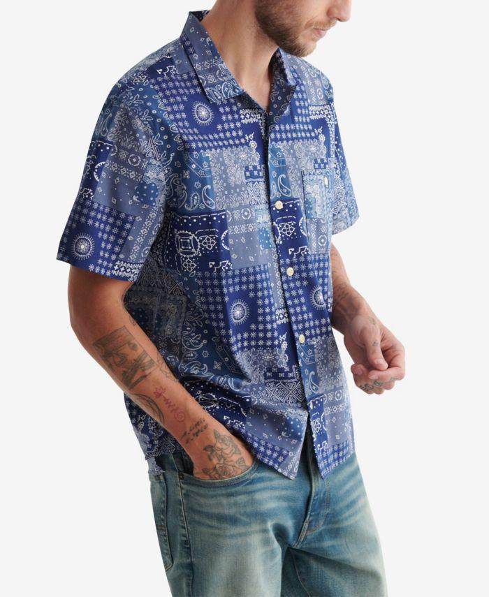 Lucky Brand Men's Short Sleeve Club Collar Shirt & Reviews - Casual Button-Down Shirts - Men - Macy's