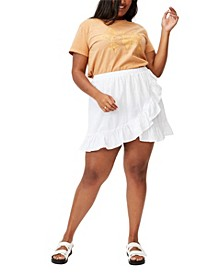Trendy Plus Size Ruffle Beach Mini Skirt