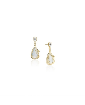 Mini Vine Drop Sterling Silver Earrings in Fine Yellow Gold Plate