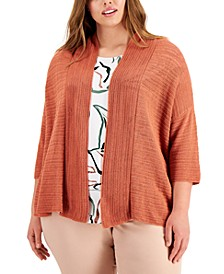 Plus Size Open-Stitch Cardigan Sweater, Created for Macy's
