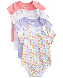 Baby Girls 4-Pack Butterfly Cotton Bodysuits Set, Created for Macy's