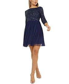 Sequin-Top A-Line Dress