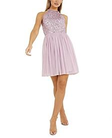 Sequin-Top Halter Dress