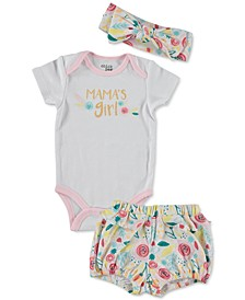 Baby Girls 3-Pc. Mama's Girl Cotton Bodysuit, Shorts & Headband Set