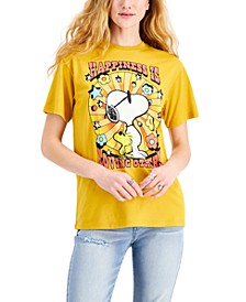 Juniors' Cotton Peanuts Happiness Graphic-Print T-Shirt