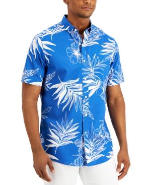 Men's Regular-Fit Tropical Leaf-Print Shirt