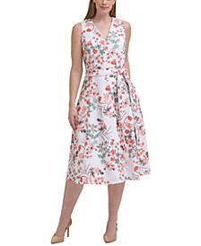 Plus Size Floral-Print Belted Midi Dress
