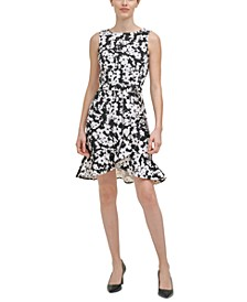 Petite Floral-Print Ruffled-Bottom Sheath Dress