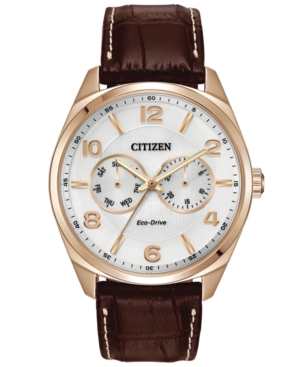 Citizen Men's Eco-Drive Brown Leather Strap Watch 42mm AO9023-01A