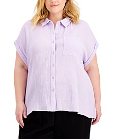 Plus Size Crinkled Cotton Button-Front Top