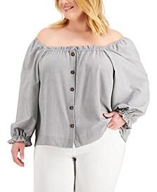 Plus Size Striped Off-The-Shoulder Button Top