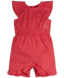 Baby Girls Embroidered Cotton Muslin Romper