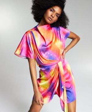Zerina Akers Tie Dye Satin Wrap Dress