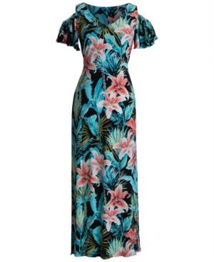 Printed Cold-Shoulder Maxi Dress