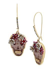 Floral Skull Dangle Earrings