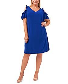 Plus Size V-Neck Cold-Shoulder Flutter-Sleeve Dress