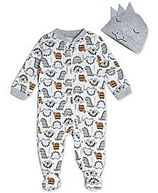 Baby Boys Printed Cotton Coverall & Hat Set
