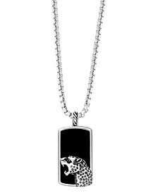 """EFFY® Men's Onyx & Black Spinel Accent Panther Dog Tag 22"""" Pendant Necklace in Sterling Silver"""