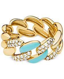 Enamel & Pavé Curb Chain Statement Ring