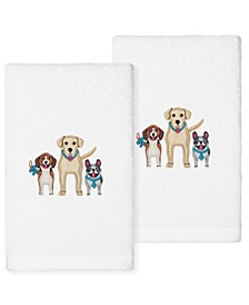 Textiles Dogs Embroidered Luxury Hand Towels, Set of 2