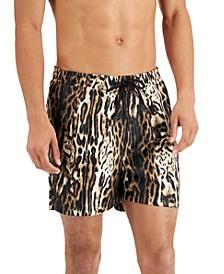 "INC Men's Regular-Fit Quick-Dry Leopard-Print 5"" Swim Trunks, Created for Macy's"