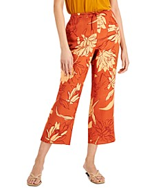 Floral-Print Cropped Drawstring Pants, Created for Macy's