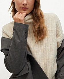 Women's High Collar Ribbed Knit Sweater