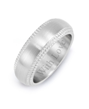 """Men's Stainless Steel """"With Love"""" Band with Milgrain Edging"""