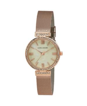 Women's Crystal T-Bar Rose Gold-Tone Alloy Bracelet Watch 32mm