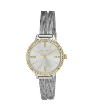 Women's Sunray Dial Crystal Silver-Tone Alloy Split Mesh Band Watch 33mm