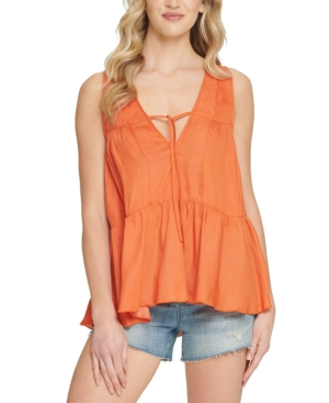 Sleeveless Ruched Tiered Top