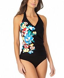 Shirred-Front Halter Tankini Top & Mid-Rise Bikini Bottoms
