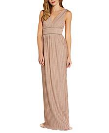 Beaded-Waist Metallic Gown
