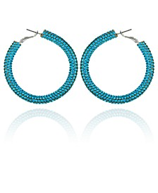 Silver-tone And Aqua Sparkle Hoop Earring