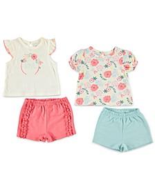 Baby Girls 4-Pc. T-Shirts & Shorts Set