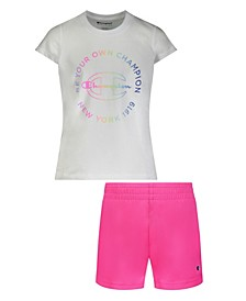 Toddler Girls Be Your Own Short Sleeve T-shirt and Mesh Short, 2 Piece Set