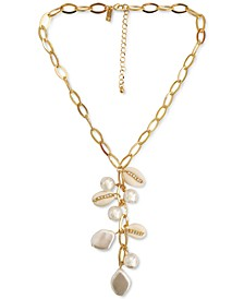 """INC Gold-Tone Pavé, Imitation Pearl & Puka Shell Chain Link Lariat Necklace, 20"""" + 3"""" extender, Created for Macy's"""