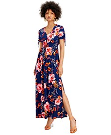 Floral-Print V-Neck Smocked-Waist Maxi Dress, Created for Macy's