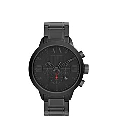 Men's Chronograph Black Stainless Steel Bracelet Watch 49mm
